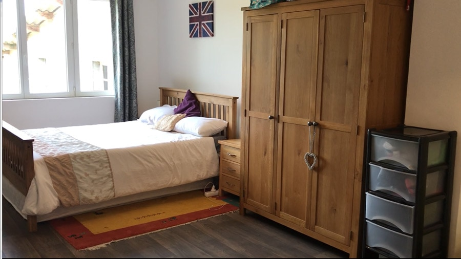 Bedroom 2 has a double bed and a single bed