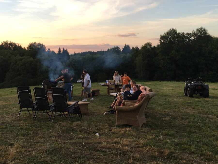 An evening barbecue, watching the sunset