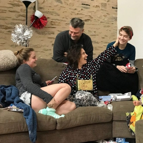 Family Christmas on sofa